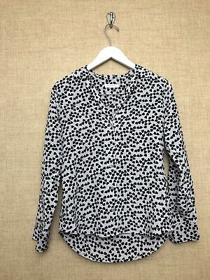 025f78c886f4c Equipment Adalyn Heart Button Blouse Shirt Top Silk XS Extra Small Grey  White
