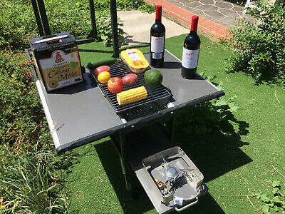 Portable foldable BBQ charcoal grill picnic table,barbecue Outdoor Camping 16