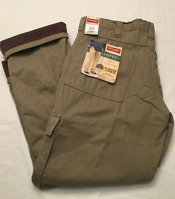 08ad8d41 NWT MEN'S Wrangler Fleece Lined Cargo Relaxed Fit KHAKI KHAKIS 70WFCBH NEW