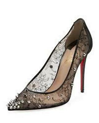 quality design 129e1 0f4bf CHRISTIAN LOUBOUTIN LACE 554 SPIKES 100 Studded Heels Pumps Shoes Black $995