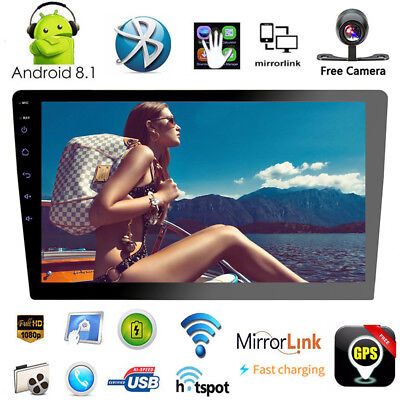 """2din Android 8.1 BT Car Stereo GPS 10.1"""" Touch MP5 FM Radio Unit 2GB RAM +Camera"""