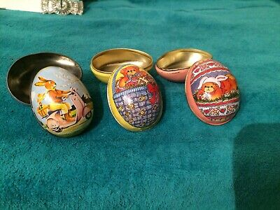 VINTAGE LITHOGRAPH EASTER EGGS METAL TIN LOT3 {1BUNNY Switzerland 2 BEAR CHINA}
