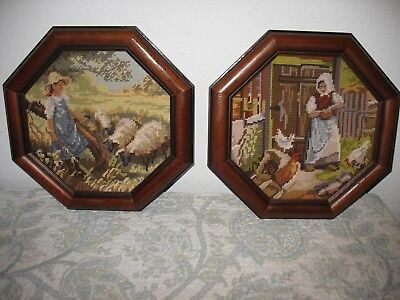 Pair of Vintage Needlepoint Framed Stitched Farmhouse Country Boy Girl Chickens