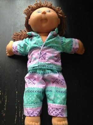 Homemade Cabbage Patch Doll Purple And Green With Reindeers Pyjama Set