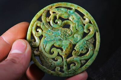 Exquisite Chinese Old Jade Carved Two-sided *dragon/Phoenix* lucky Pendant   H1
