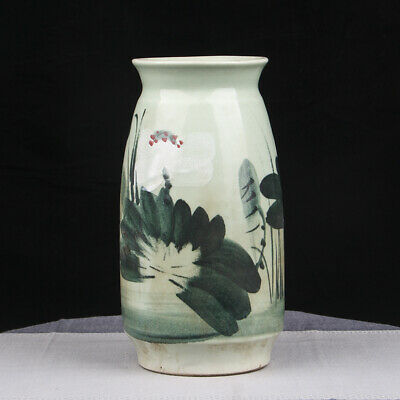 Incredible Chinese Old Rare Green Porcelain Vase Bottle Marked JingDeZhen FA131