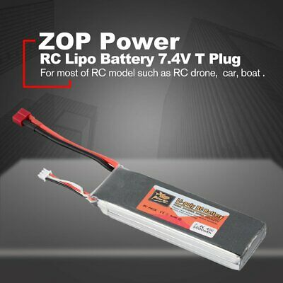 ZOP Power 7.4V 5000mAh 40C 2S 1P Lipo Battery T Plug for RC Drone Car Boat BY