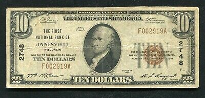 1929 $10 The First National Bank Of Janesville, Wi National Currency Ch. #2748