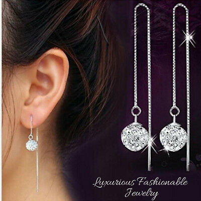 925 Sterling Silver Plated Long Chain Ball Crystal Bead Dangle Drop Earrings