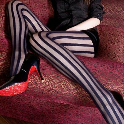Black Vertical Striped Tights Pantyhose Burlesque Office Club Wear /& Parties