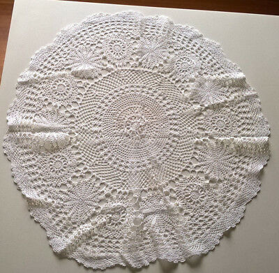 Vintage Small Round Crochet Tablecloth 75 Cm
