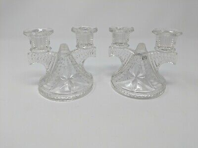 Pair of Vintage 40s-50s Clear Glass Candelabra, Trident Candlesticks- Gorgeous