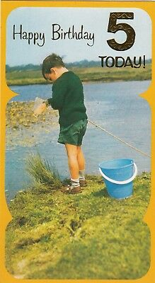 Vintage 1970s Happy 5th Birthday Greeting Card 5 Years Old Tadpole Fishing Boy