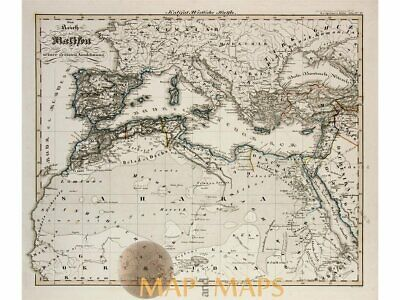 Caliphate atlas map Europe Africa by Spruner 1846
