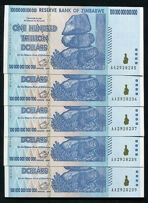 (5) Consecutive 2008 100 Trillion Dollars Reserve Bank Of Zimbabwe, Aa P-91 Unc