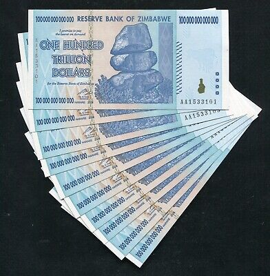 (10) Consecutive 2008 100 Trillion Dollars Reserve Bank Of Zimbabwe, Aa P-91 Unc