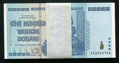 (25) Consecutive 2008 100 Trillion Dollars Reserve Bank Of Zimbabwe, Aa P-91 Unc