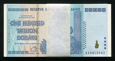 (50) 2008 100 Trillion Dollars Reserve Bank Of Zimbabwe, Aa P-91 Gem Unc