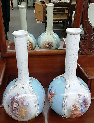 Pair of Antique Art Nouveau Porcelain Victoria Carlsbad Vases – Made in Austria