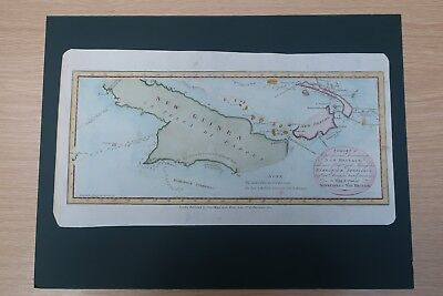 c1785 Hand Coloured map of New Guinea discovered by Captain James Cook