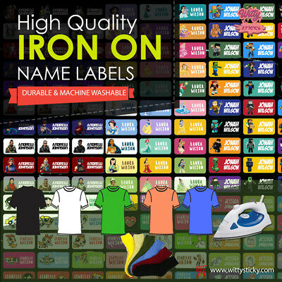 Personalised IRON on Clothing Name Labels Waterproof for tshirt towel sock etc