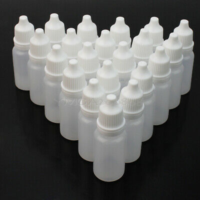 Useful 50x 10ml Empty Dropper Eye Drops Liquid Screw Cap Lids Bottles Con JJS