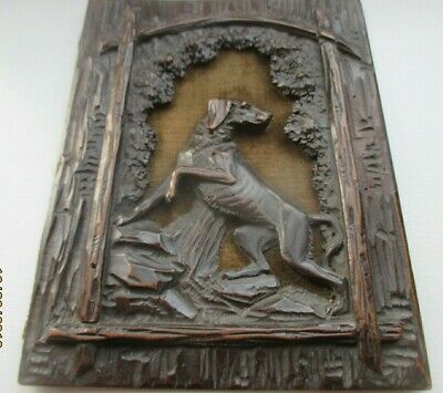 FINE QUALITY Victorian Carved Wooden Panel Plaque Wood  Dog   CIRCA 1860
