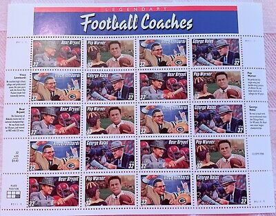 1998 FOOTBALL COACHES  U.S. POSTAGE STAMPS 32c  20 stamp sheet Collections