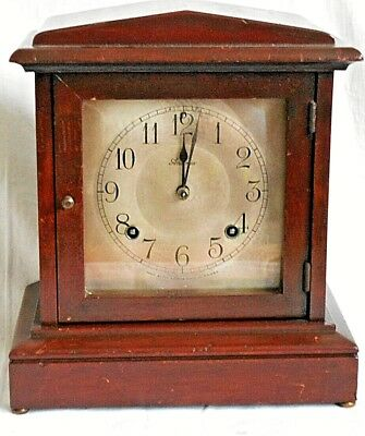 Late C19Th / Early 20Th Ansonia Wooden Mantel Clock  Striking On A Gong