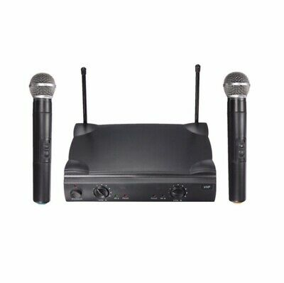 Professional Grade Dual Wireless Microphone System Set Cordless Mic With Speaker
