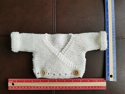 Handknitted Small Newborn / Early Baby Sized Wrapover Cardigan White