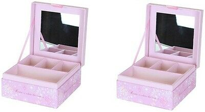2 x Home & Heart Design Jewelry Box With Mirror Gift Room Decoration Box Pink
