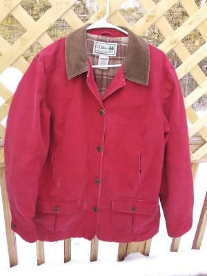 5b425997e70 LL Bean Womens Red Canvas Field Barn Jacket Chore Coat Flannel Lined Size  Large