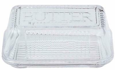 Retro Vintage Glass Butter Storage Container Dish Lid Dishwasher Safe Clear NEW