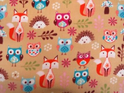 Woodland Fox Printed Polar Fleece Warm Soft Fabric material Anti Pill 150cm wide