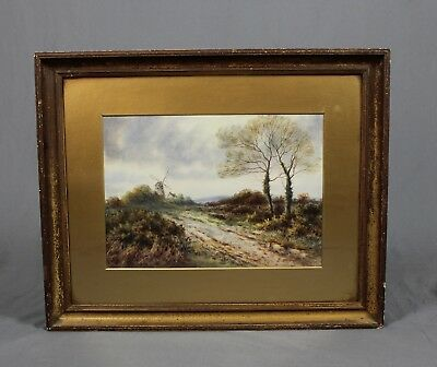 Watercolour Painting English Countryside Scene with Windmill Signed 19th Century