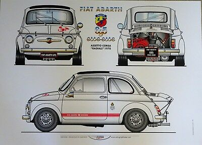 POSTER FIAT ABARTH 695 ESSEESSE RADIALE 1970 - CM. 70x50 - CARTONCINO 240 GR.
