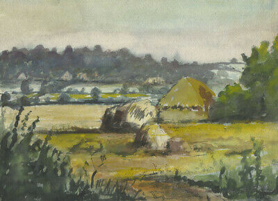 Frank Fidler, Hay Stacks - Original mid-20th-century watercolour painting