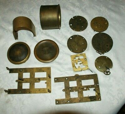 Job Lot Of Antique Brass Clock Parts - Spares/Scrapyard