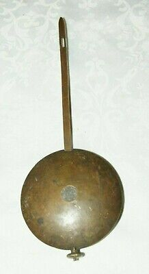 Heavy Antique Wall Clock Brass Cased Lead Pendulum (823 grams)