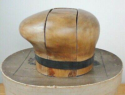 Vintage Continental Hat Puzzle Block, Nice Patina, Period Millinery History.