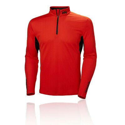 Helly Hansen Mens HH Lifa Active Mesh 1/2 Zip Long Sleeve Top Black Red Sports