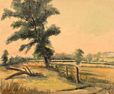 Frank Fidler, Country Walk - Original mid-20th-century watercolour painting