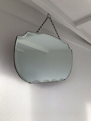 Vintage Mirror art deco Bevelled mirror with Hanging chain