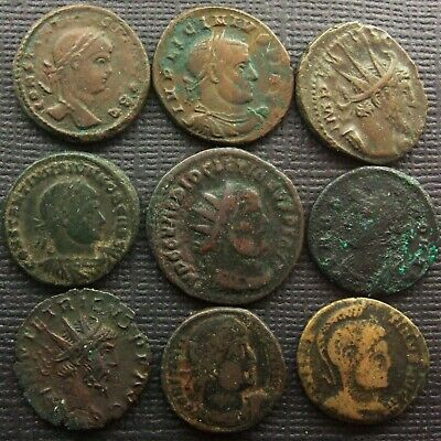 (A) Roman Imperial; A job lot of 9 AE coin includes Victorinus Tetricus I