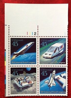 US Airmail #C122-C125 45¢ Futuristic Mail Delivery Plate# Block of 4 MNH