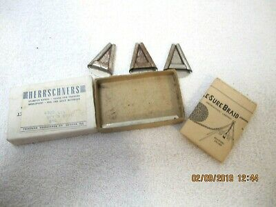 "Vtg NOS Herrschners 3pc Set Metal Tool Braiders Rug 1"" w Instructions"