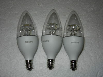 3 new Philips 4.5W ( 40W ) LED daylight light bulbs Candelabra B11 E12 bulb day
