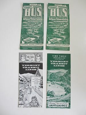 Lot of 4 1940s 1960s Vermont Transit Lines Bus Timetables New England