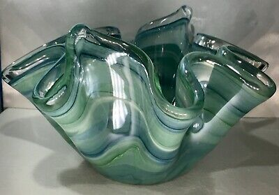 Hand Blown Murano Glass Bowl, Made In ITALY, Swirled In Blues, Teal, & Aqua-NWT